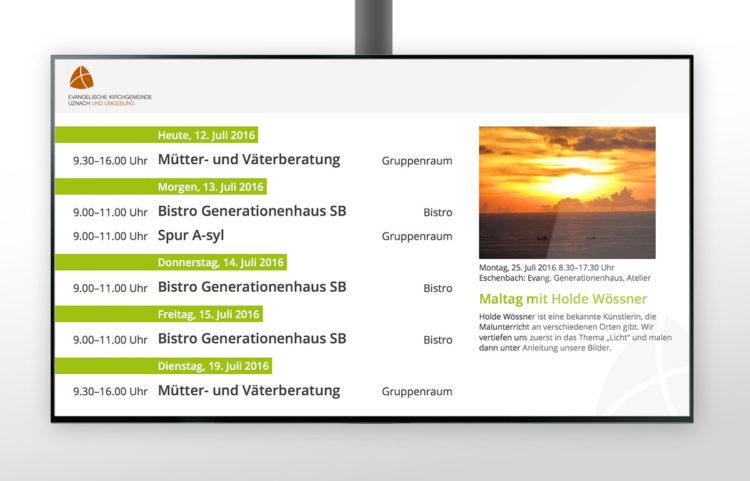 Infodisplay für Evangelische Kirchgemeinde Uznach und Umgebung